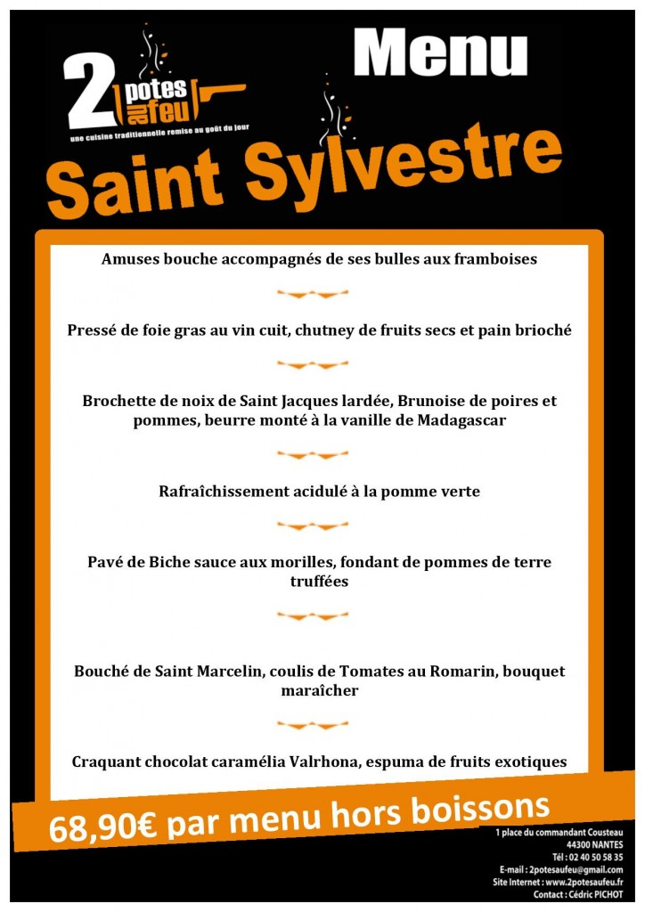 menu réveillon restaurant 2 Potes au feu à Nantes